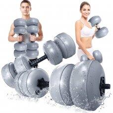 Vandeniu užpildomas hantelis - pilka - 30- 35kg (komplektas)